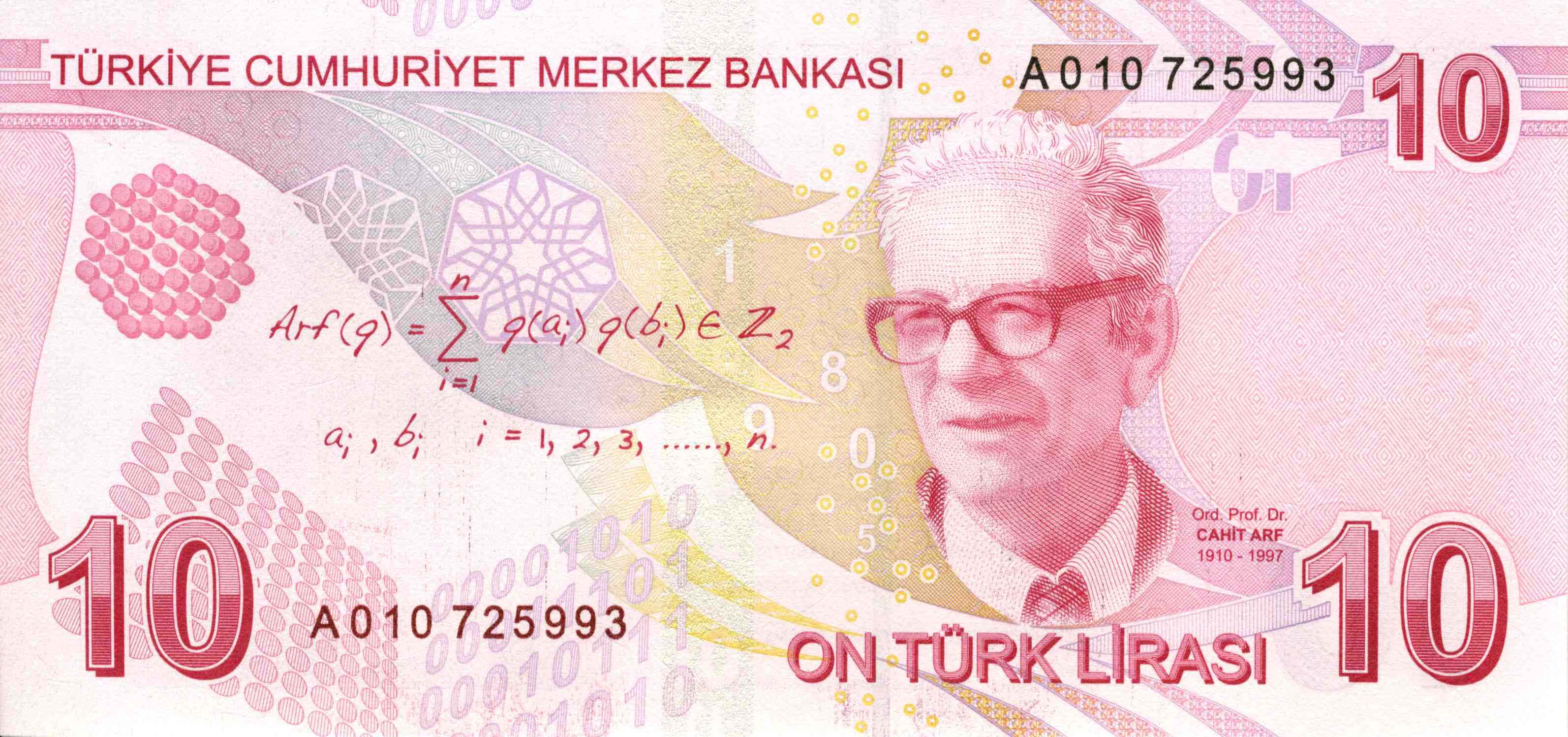 トルコリラturkish 10 lira note cahit arf
