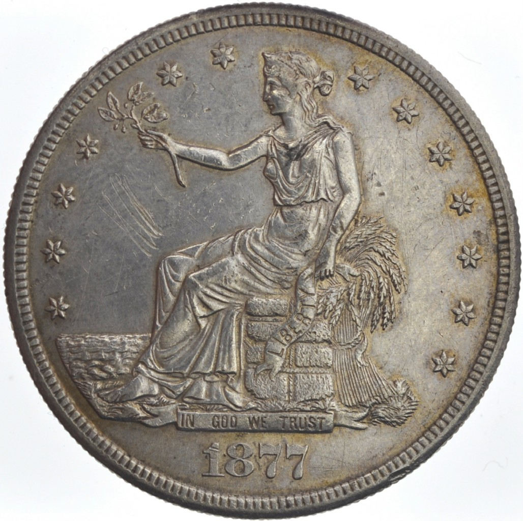 アメリカドルUnited States Trade Dollar dated 1877 S